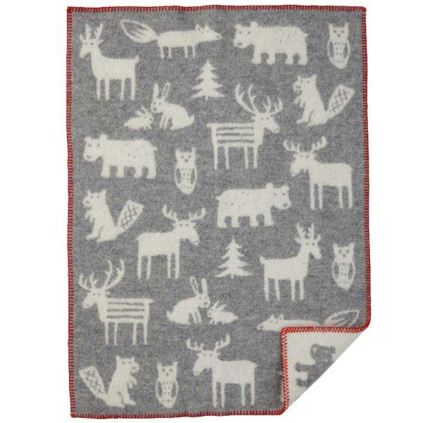 Klippan Baby Wolldecke 'Forest' - Grey