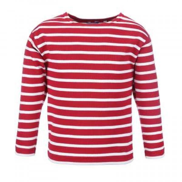Bretonisches Kindershirt Langarm - rot-weiß, 104