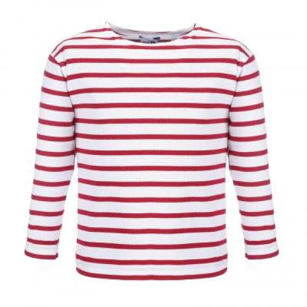 Bretonisches Kindershirt Langarm - weiß-rot, 104