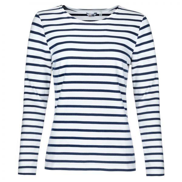 Bretonisches Damenshirt Langarmshirt in versch. Farben - weiß-blau, 48