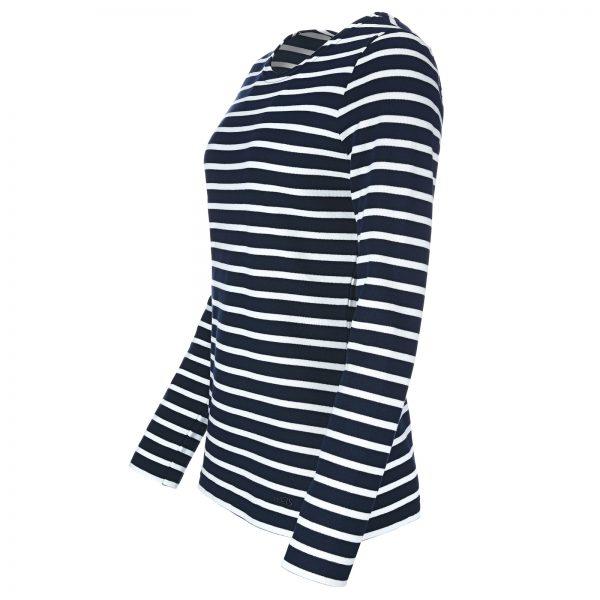 Bretonisches Damenshirt Langarmshirt in versch. Farben - blau-weiß, 46