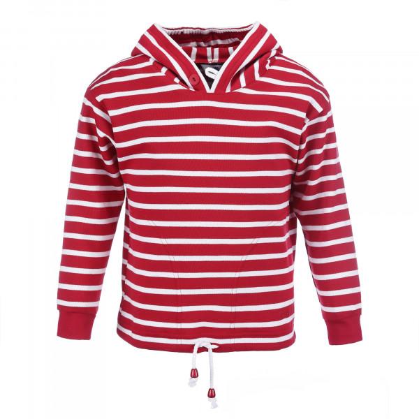 Bretonisches Kinder Kapuzenshirt - rot-weiß, 68