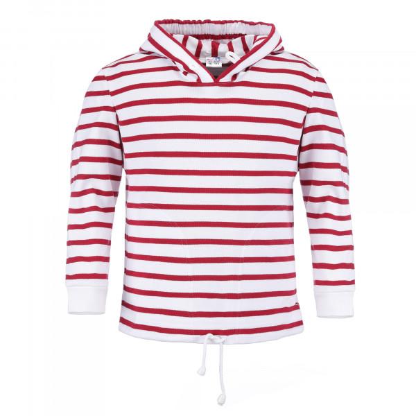 Bretonisches Kinder Kapuzenshirt - weiß-rot, 92
