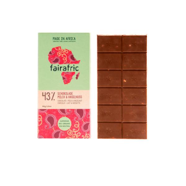 Fairafric Bio-Milchschokolade 43% mit Haselnüssen
