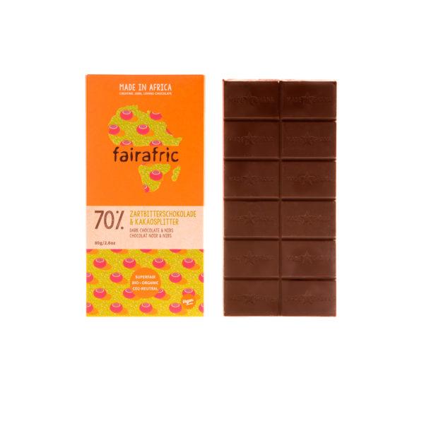 Fairafric Bio-Zartbitterschokolade70% mit Kakaosplitter