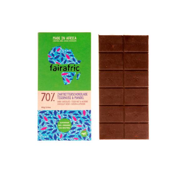 Fairafric Bio-Zartbitterschokolade70% mit m. Tigernuss und Mandel