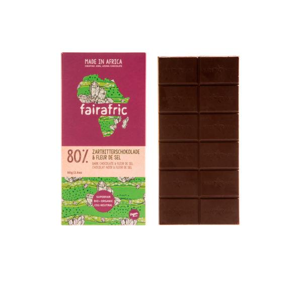 Fairafric Bio-Zartbitterschokolade 80% mit Fleur de sel