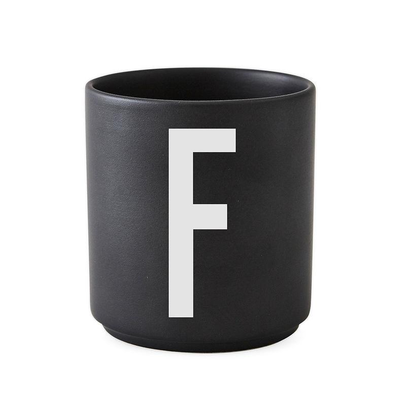 Design Letters Persönliche Porzellantasse schwarz F