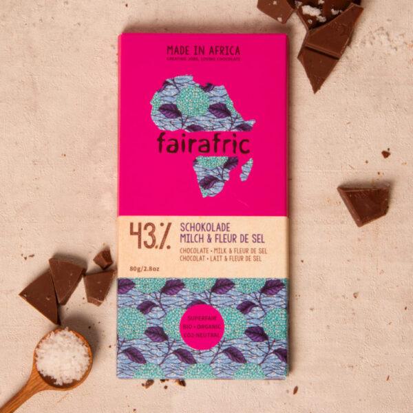 Fairafric Bio-Milchschokolade 43% mit Fleur de sel