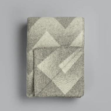 Roros Tweed Wolldecke Lynild grey-natural